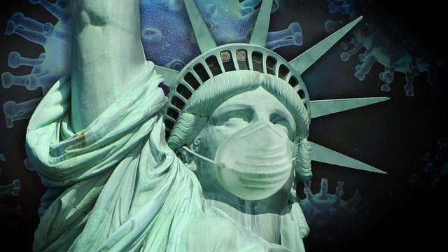 Picture of the Statue of Liberty in a face mask